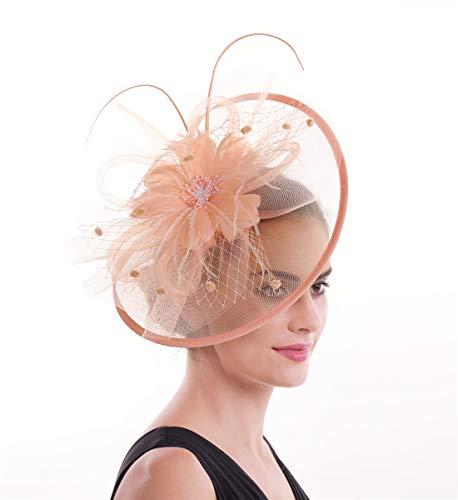 LUCKY Leaf Las mujeres chica tocados pelo Clip Horquilla sombrero boda coctel Tea Party sombrero de la pluma
