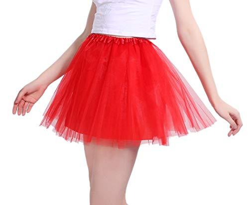 Tutu Damen Tüll Rock Tüllrock 50er 80er Kurz Ballet 3 Layers Tanzkleid Unterröcke Trachtenröcke Zubehör für Frauen Mädchen, 7 Farben (Rot)