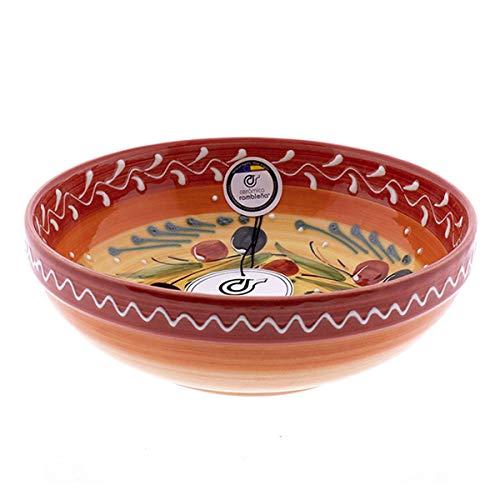 CERÁMICA RAMBLEÑA   Ensaladera cerámica   Ensaladeras Originales   Ensaladeras decoración roja - Modelo 12   Decoración 100% Hecho a Mano   19x19x6 cm