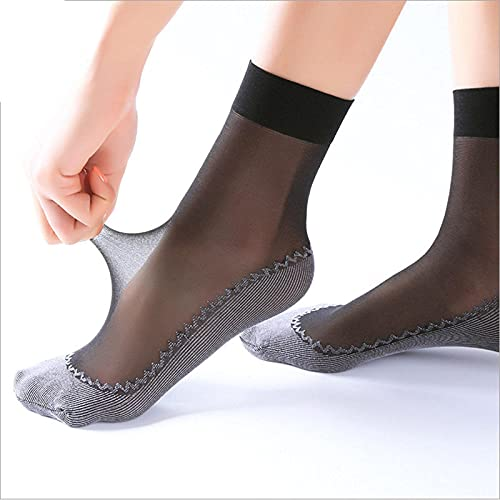 Chtom Stockings Crystal Stockings Black Skin Color Summer Socks Breathable Stockings Women Female (Color : NH526Black, Size : 20Pairs)