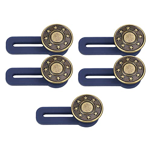 Bhuuno 5 peças de botões redondos de metal, calça jeans feminina masculina elástica, fecho expansor, fivelas removíveis ajustáveis