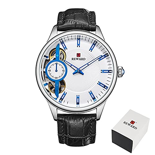 Relojes mecánicos para hombre Tourbillon automático Reloj de cuarzo para hombre de cuero casual de negocios CXSD (color negro y blanco)