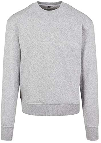 Build Your Brand Mens Premium Oversize Crewneck Pullover Sweater, Heather Grey, L