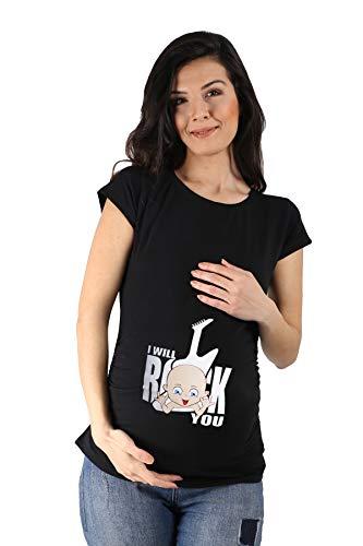 I Will Rock You - Witzige süße lustige Umstandsmode Umstandsshirt mit Spruch und Aufdruck T-Shirt mit freches Motiv Schwangerschaft Geschenk, Kurzarm (X-Large, Schwarz)