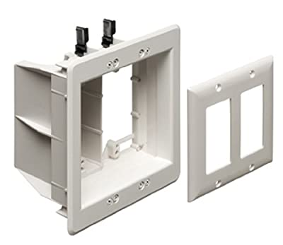 Arlington Industries TVBS505 2-Gang Steel TV Box Recessed Outlet Wall Plate Kit, White, 1-Pack
