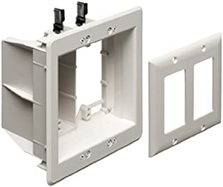 Arlington TVBU505-1 Recessed TV Box Wall Plate Kit Paintable 2-Gang, White