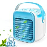 Portable Air Cooler, Mini Handle Evaporative Personal Rechargeable Air Conditioner, 3 Fan Speed, Desktop Cooling Fan for Room, Home, Office, Dorm Sterilizer, Humidifier & Purifier