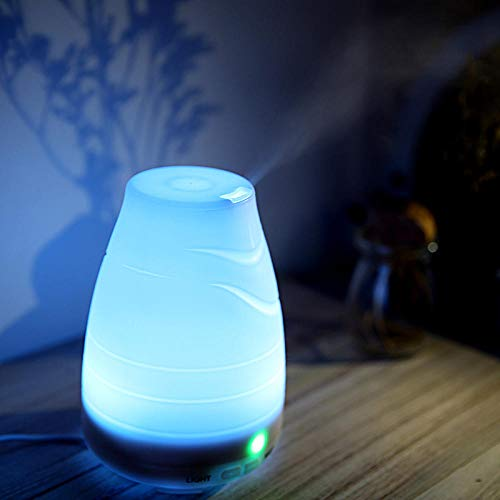 HUANXI 400ml Humidifier for Baby Room with 7 Color Nightlight,Water Pattern Design Air Diffusers Electric Plug inAdjustable Mist Mode, BPA-Free, Waterless Auto-off, Sleep Diffuser for Car Humidifier
