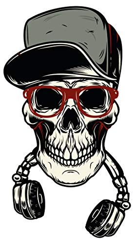 dekodino® Wandtattoo Totenkopf mit Kopfhörer Jugendzimmer Teenager Deko