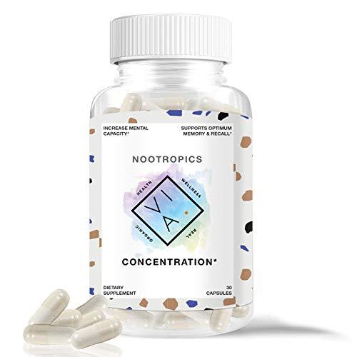 VIA Premium Nootropics for Increased Mental Capacity, Memory and Focus, Non-GMO, Vegetarian, Gluten Free (30 Capsules)