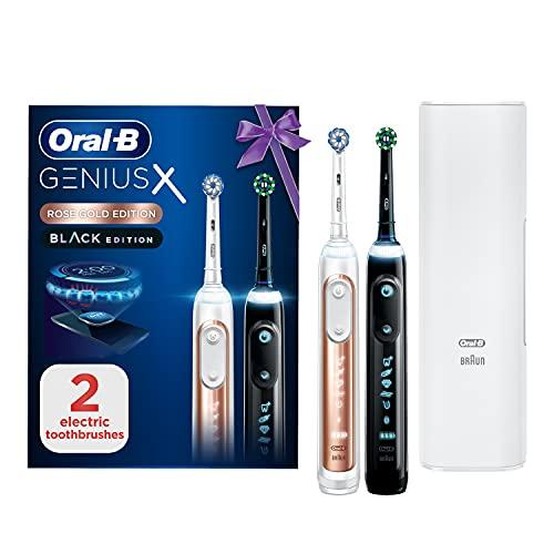 Oral-B Genius X Electric Toothbrushes Designed By Braun, Duo Handles Pack Using Artificial Intelligence, 2 Toothbrush Heads, 1 Premium Travel Case, UK 2 Pin Plug