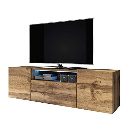 Selsey BROS - Mobile TV con Scomparti/Porta TV Stile Moderno/Tavolino TV con Scomparti/Opzione LED/Quercia Dorata