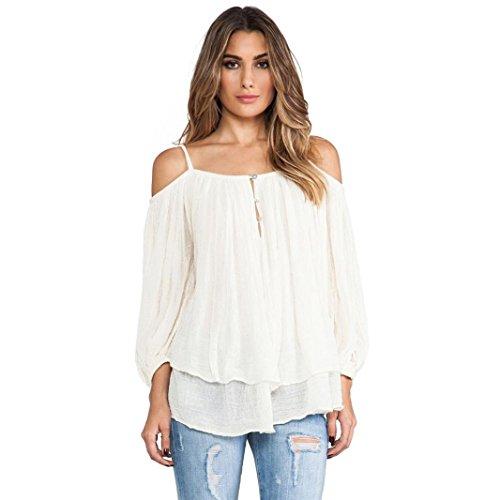 Kolylong® Frauen strap trägerlose Bluse Frauen trägerlosen Spitzen lange Hülsen Bluse Dame-reizvolle Bluse Geschirre (XL)