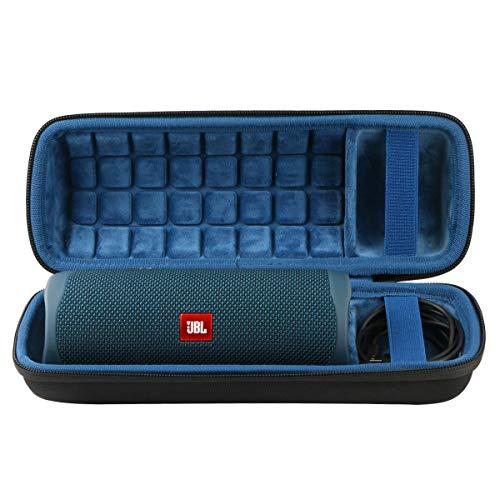 co2CREA Hart Reise Schutz Hülle Etui Tasche für JBL FLIP 5 mobiler Bluetooth Lautsprecher (External Black,Interior Blue)