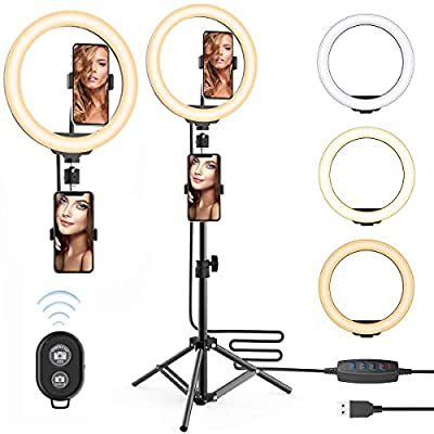10'' Selfie Ring Light with 63inch Tripod Stand & Two Phone Holder for Make Up Live Photo Photography Vlogging Video - Upgraded Dimmable Camera Ring Light for TikTok/YouTube/Makeup/Photography