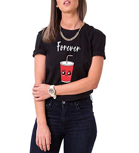 Best Friends T-Shirt für Mädchen BFF T-Shirt Sister T-Shirts Beste Freunde T-Shirt Best Friends Geschenk Sommer Oberteil Kurzarm Baumwolle Schwarz Weiß, Forever-schwarz, Gr.S
