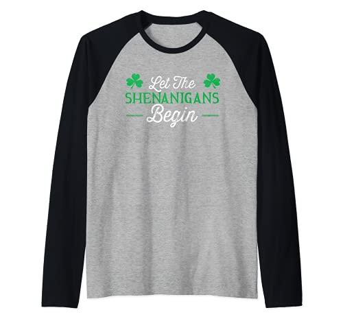 Deje que los Shenanigans comiencen el regalo del día de San Patricio Camiseta Manga Raglan