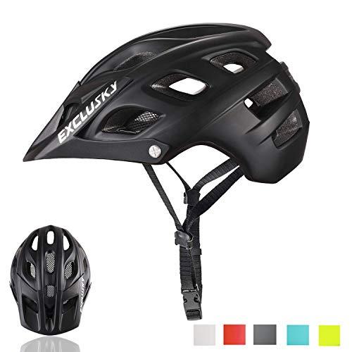 Exclusky Erwachsene Fahrradhelm für Männer Mountain-Bike L 56-61cm(schwarz)