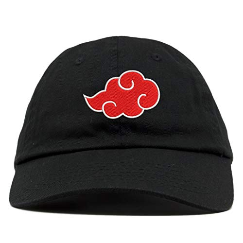 TOP LEVEL APPAREL Akatsuki Cloud Logo Embroidered Low Profile Soft Crown Unisex Baseball Dad Hat Black