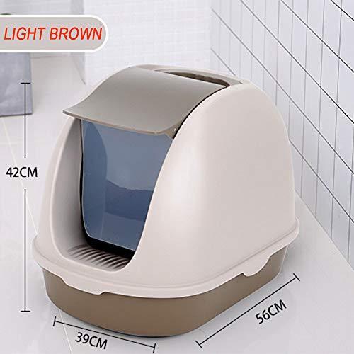 IUIIUI CS Katzentoilette mit Katzenstreu Schaufel Kunststoff Drehbare Oval Pet WC mit Deckel, optional Farbe (Color : Gray)