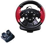 LILIS Racing Wheel,Volante para Juegos de Ordenador Volantes, Vibración del Ordenador Juego de Carreras USB Volante con Pedales Responsive for PS3 / PS2 / PC