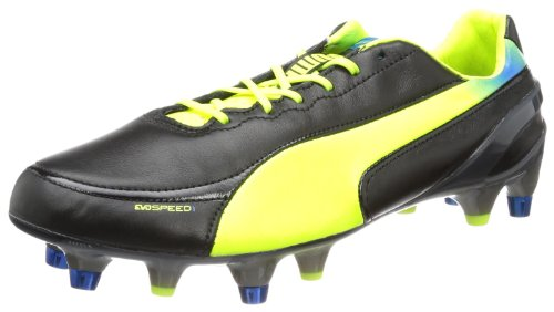 PUMA Evospeed 1.2 L Mixed SG, Chaussures de Football Homme, Noir Fluo Yellow Brilliant Blue 01, 41 EU