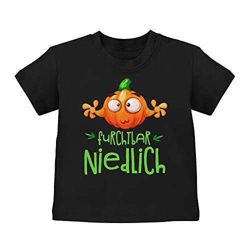 Fashionalarm Baby T-Shirt - Ich Bin furchtbar niedlich - Kürbis   Baby-Shirt mit Spruch lustiges Halloween Kostüm Motiv für Jungen & Mädchen, Schwarz 3-6M (60-66 cm)