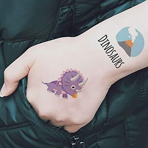 PMSMT 12 Feuille/Ensemble Maquillage de Dinosaure Autocollant de Tatouage temporaire Mignon Faux Tatoo Flash Tatto étanche Petit Body Art pour Les Enfants