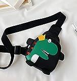 Bolso lindo del pecho del dinosaurio de los niños Bolso del pecho para las actividades al aire libre lindo bebé pequeño bolso de la cruz (negro)