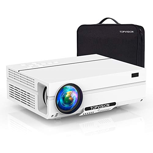 Projector Native 1080P, TOPVISION Video Projector with Carrying Case, 6500L Full HD Movie Projector, LCD LED Home & Outdoor Projector Compatible with TV Stick,HDMI,VGA,USB, Smartphone,PC,Xbox