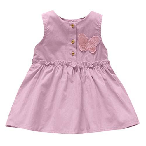 KUKICAT Robe Enfant Robes sans Manches en Dentelle à Boutons Nœud, Couleur Pure Coton Chic Casual Pas Cher Mode Mini Dress