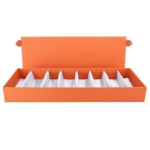 Lv. life Sonnenbrillen Organizer, 8 Gitter Tragbare Brillen Vitrine Reise Sonnenbrillen Aufbewahrungskoffer Organizer für Frauen Männer(Orange)