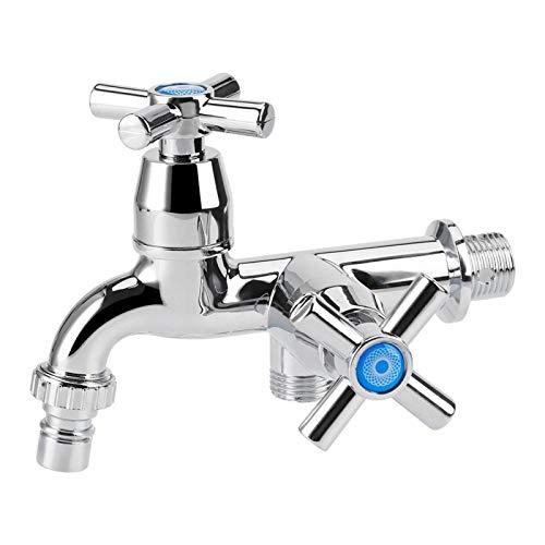 Lavadora Grifo Fregadero Lavabo Mezclador monomando Grifo de agua Grifo Grifo Doble caño Doble interruptor Mango cruzado para lavadora Cocina y baño(3#)