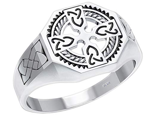 US Jewels New Men's 0.925 Sterling Silver Irish Celtic Cross Ring, Size 9.5