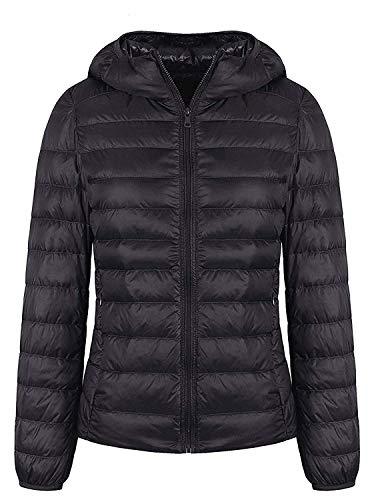 GEEK LIGHTING Women's Packable Hooded Down Jacket Ultralight Water Repellent Puffer Coat Black US Medium