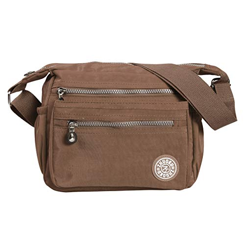 Women 's Casual Shoulder Bag Satchel Crossbody Handbags Waterproof Nylon Messenger Bag (Brown, One Size)