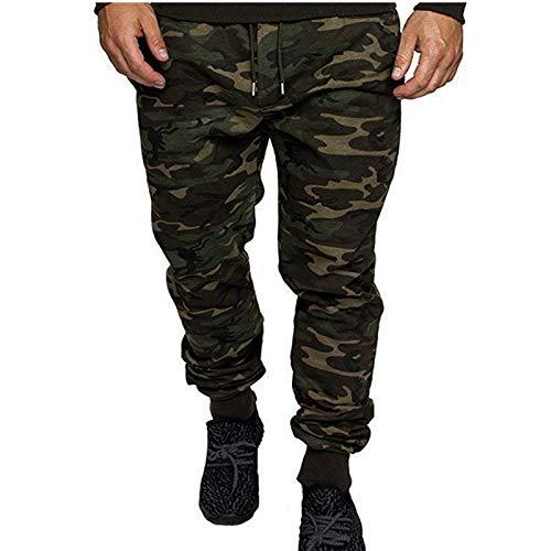Pantalones de Jogging de Camuflaje para Hombre Pantalones Ajustados de Cintura elstica con cordn para Viajar, Caminar, Acampar, al Aire Libre XX-Large