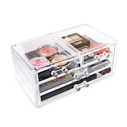 Ikee Design Acrylic Jewelry & Cosmetic Storage Display Box, Cosmetic Jewelry Organizer Makeup Holder, Cosmetic Holder, Cosmetic Organizer for Vanity, 9 3/8 x 5 3/8 x 4 3/8H