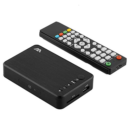 SNOWINSPRING Reproductor Multimedia Digital, Reproductor Multimedia Full HD 1080P TV Box, Disco Duro HDMI VGA AV USB Disco U Tarjeta/SDHC/MMC Enchufe de la UE