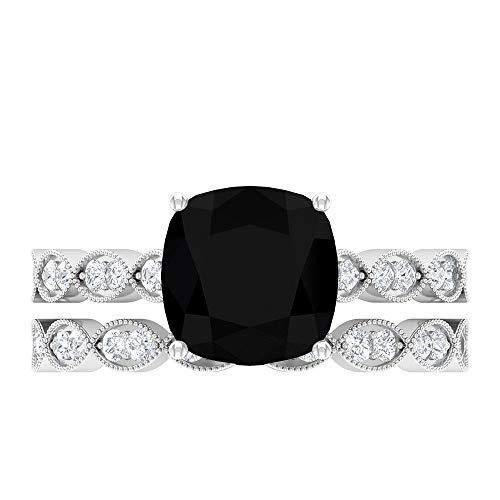 Anillo hexagonal solitario, 3,01 CT creado en laboratorio, anillo de diamante negro, D-VSSI Moissanite Halo, 8,5 mm anillo de corte cojín, 14K White Gold, Lab Created Black Diamond, Size:US 48