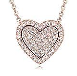 Quadiva G! - Collar para mujer con colgante de corazón (color: oro rosa/blanco) decorado con cristales brillantes de Swarovski®