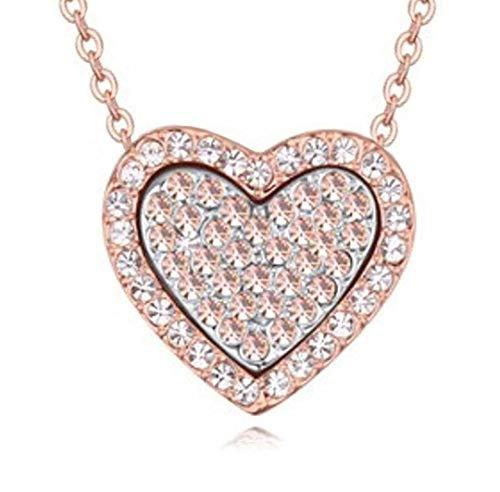 Quadiva G! - Collana da donna con ciondolo a forma di cuore (colore: oro rosa/bianco) decorata con cristalli scintillanti Swarovski®