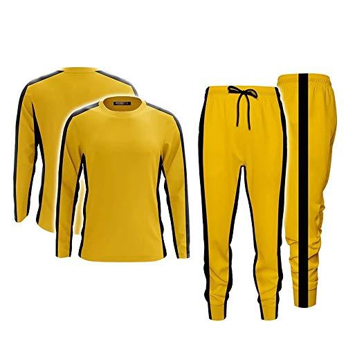 Bruce Lee Erwachsene gelbe Hosen Sportanzüge Kung Fu Uniform Fitness Trainingsanzug, Ein Set, S