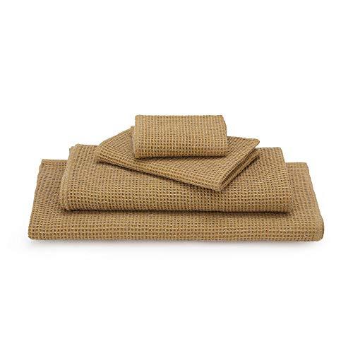 """URBANARA Handtuch """"Kotra"""" 50% Leinen & 50% Baumwolle 80 x 135cm, Leuchtendes Senfgelb/Natur, Badetuch, Duschtuch, Saunatuch, Strandtuch"""