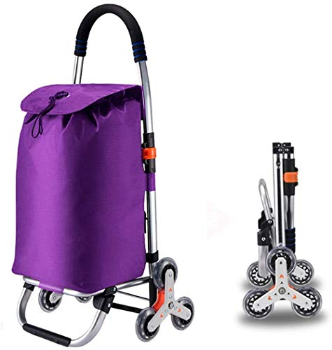 LLDKA Shopping Rolley with large wheels Extra large shopping roller shopping aid 50kg loadable, 6rounds,Purple
