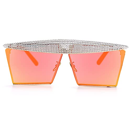 JIANCHEN Gafas de Sol Vintage Square Gafas de Sol Mujeres Hombres Planos Top Fashion Metal Steampunk Sombrilla Sombrillas Sombras Sombras Gafas UV400 Ocultos Hombres (Color : 16)