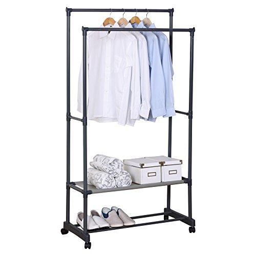 WOLTU Kleiderständer Garderobenständer mit dem Ablage, Wäscheständer auf Rollen, mit Schuhregal, 83x39x161cm Grau SR0022