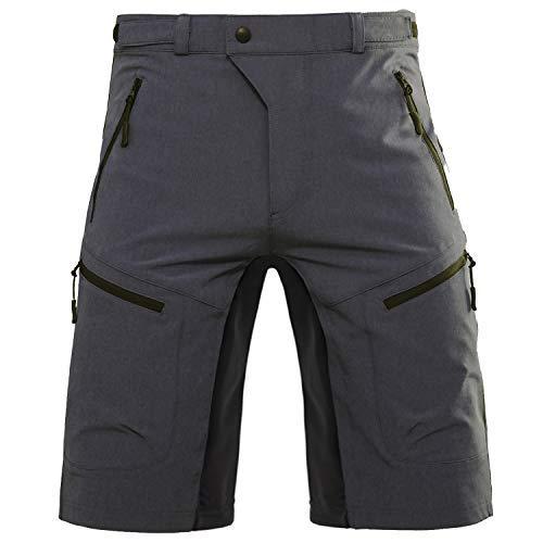 Hiauspor Pantalones de ciclismo MTB para hombre, para bicicleta de montaña, para exteriores, color gris, talla S