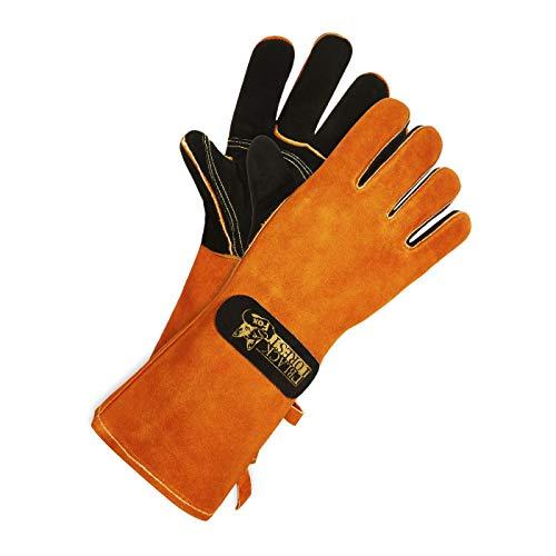 Black Forest Fox feuerfeste Grillhandschuhe 300 Kaminofen Schweißer Handschuhe aus Wildleder Unisex 41cm lang