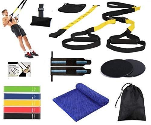 PROFIT TRX - Set / Kit de Gimnasio, Deporte y Ejercicio en Casa - TRX fitness Entrenador Suspensión -5 Gomas Elásticas Fitness Pilates -Toalla Microfibras - Muñequeras Crossfit - Core Sliders - 15 Pcs